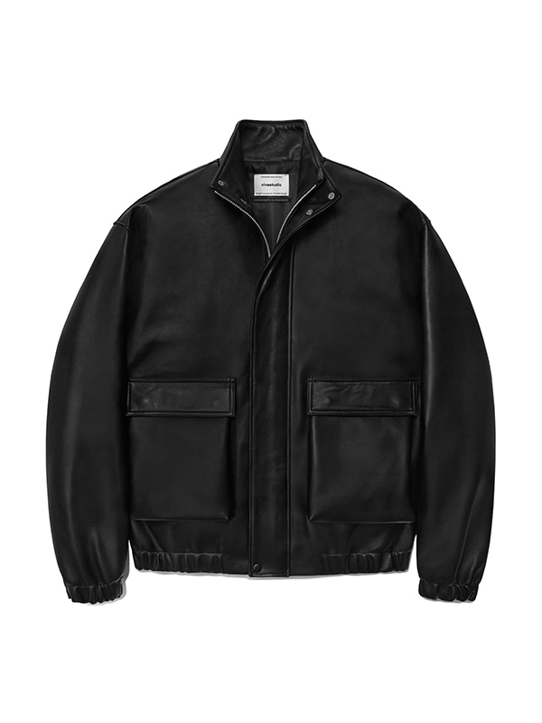 LEATHER BLOUSON JACKET IA [BLACK]