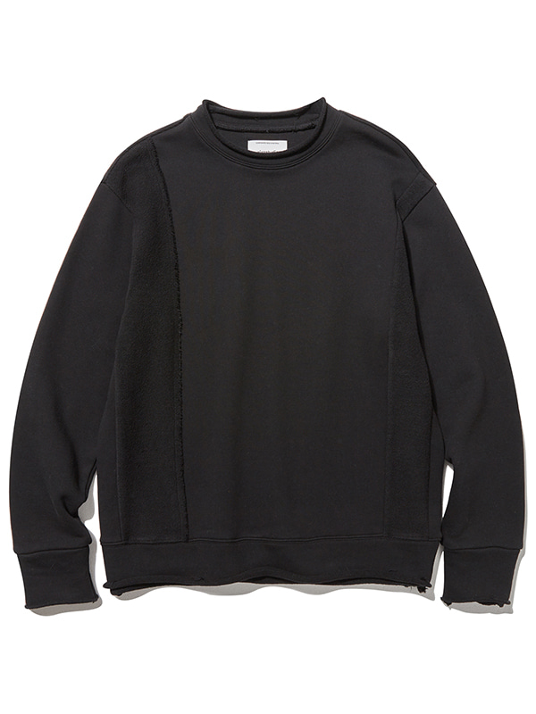UNBALANCE CUTTING CREWNECK JS [BLACK]