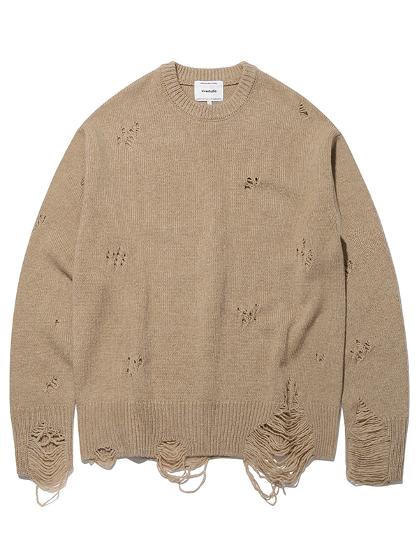 DAMAGED KNIT KS [BROWN]