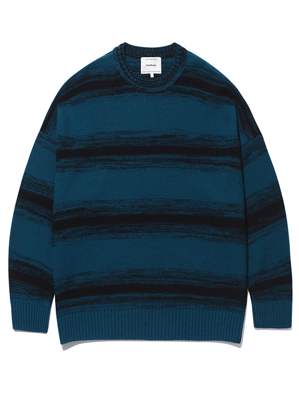 STRIPE OVER FIT KNIT KS [TURQUOISE]