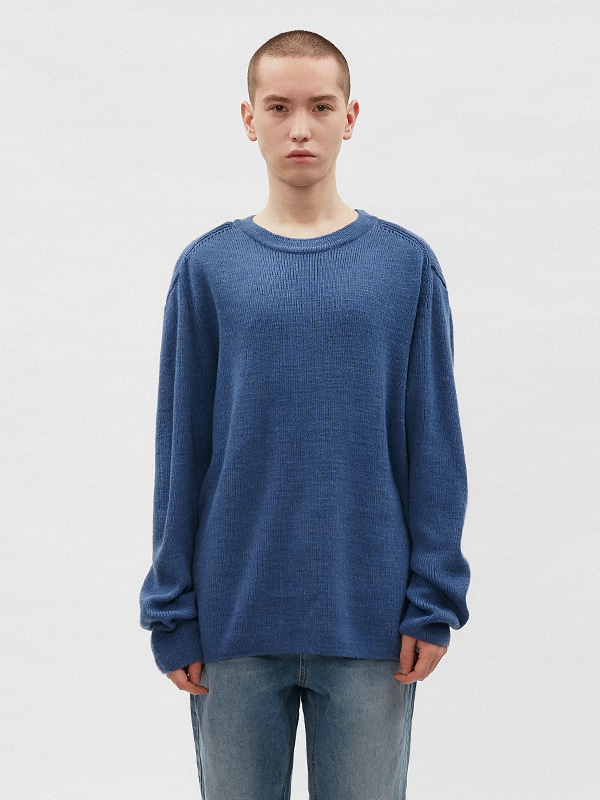 BASIC CUTTING KNIT JS [INDIGO BLUE]