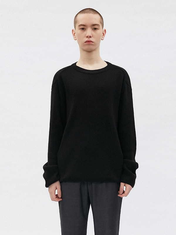 BASIC CUTTING KNIT JS [BLACK]