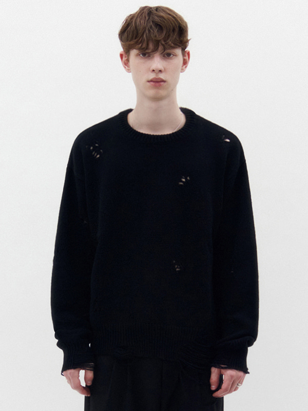 DAMAGED KNIT KS [BLACK]
