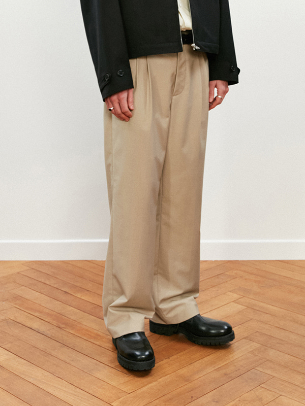 TWO TUCK SLACKS KS [BEIGE]